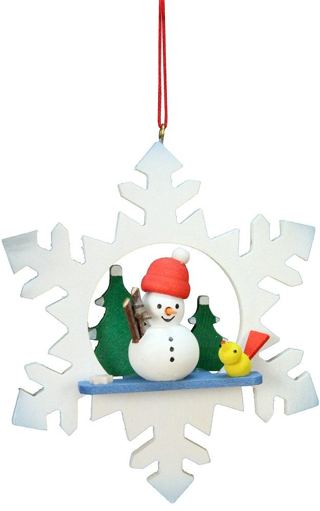 Snowman in Snowflake Ornament