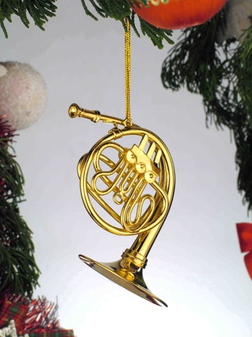 Gold Brass French Horn Hanging Ornament
