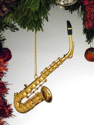 Gold Brass Alto Saxophone Hanging Ornament