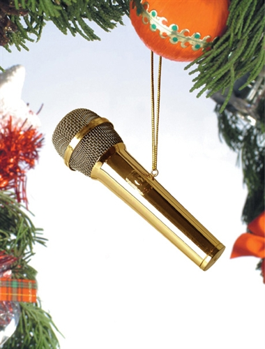 Gold Brass Mircophone Hanging Ornament