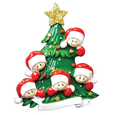 Christmas Tree with Five Faces Ornament - Personalizable