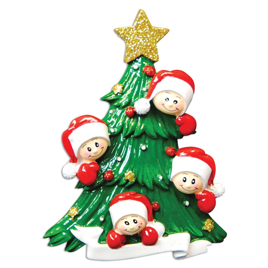 Christmas Tree with Four Faces Ornament - Personalizable