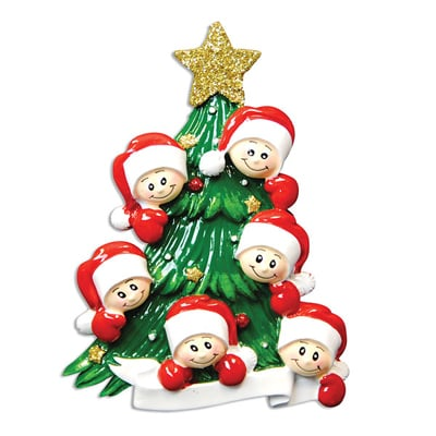 Christmas Tree with Six Faces Ornament - Personalizable