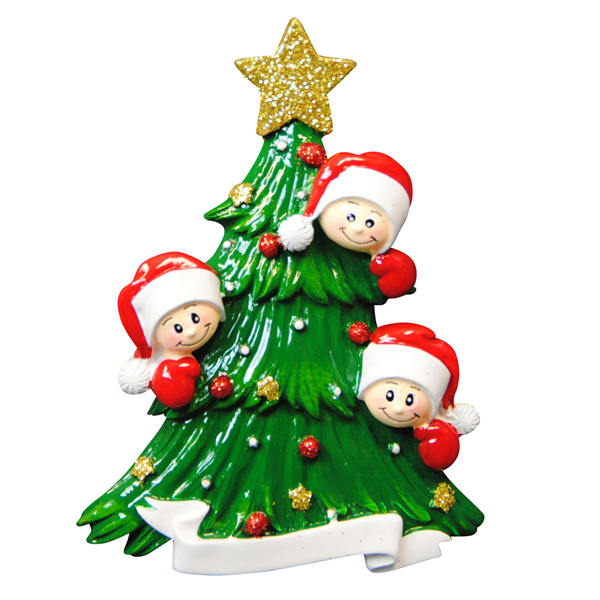 Christmas Tree with Three Faces Ornament - Personalizable