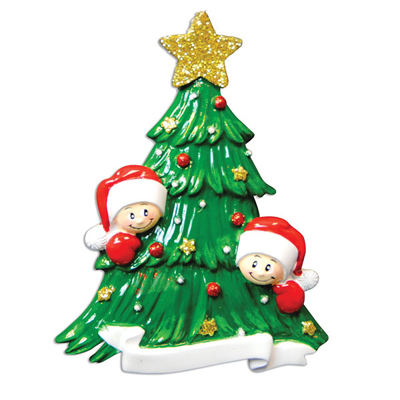 Christmas Tree with Two Faces Ornament - Personalizable