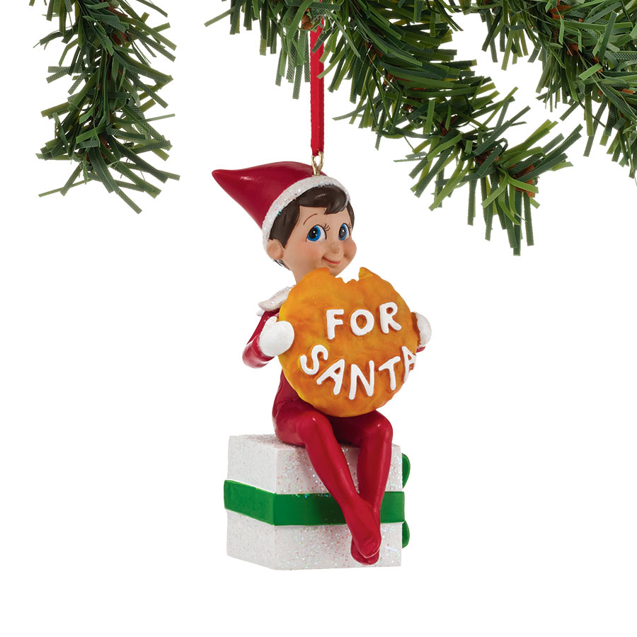 Elf with Santa's Cookie Ornament