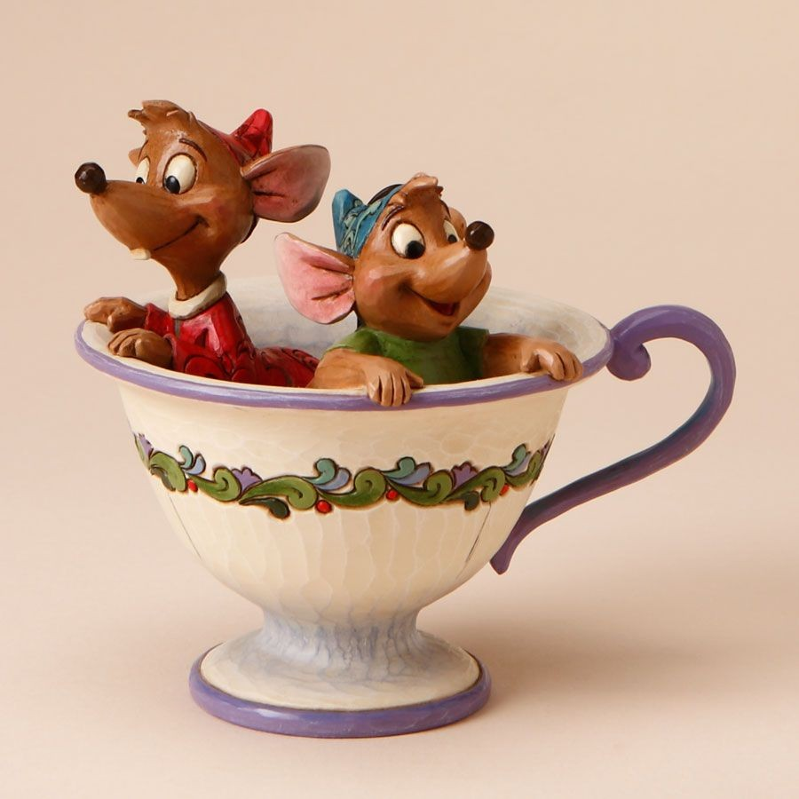 Tea For Two - Jaq And Gus In Tea Cup Figurine