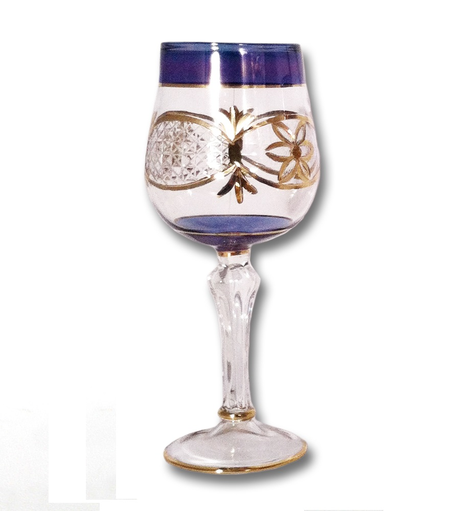 egyptian museum glass dg301 blu blue wine glass with gold etching