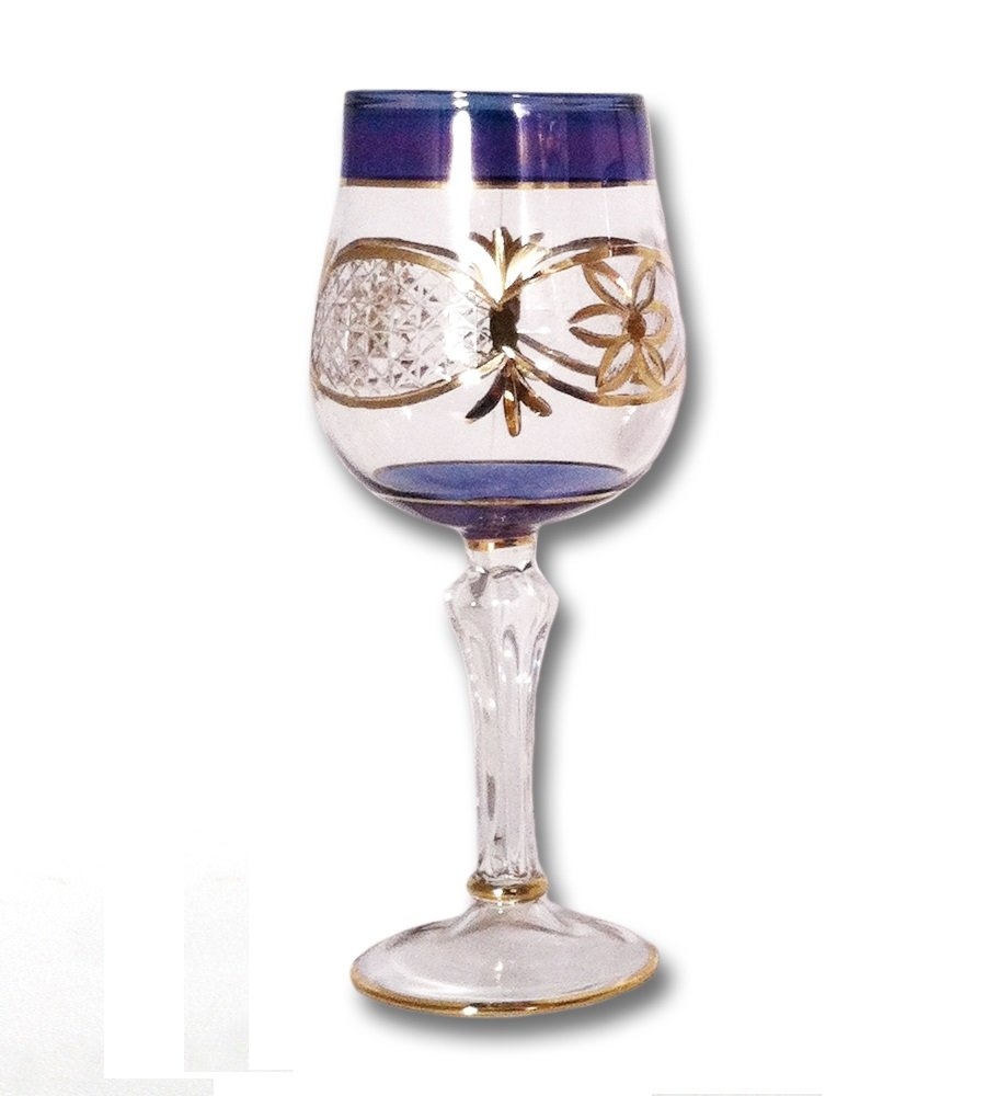 EGYPTIAN MUSEUM GLASS Blue Wine Glass with Gold Etching