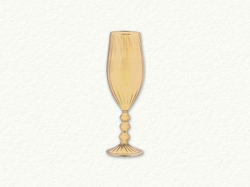 Yellow Swirl Champagne Glass