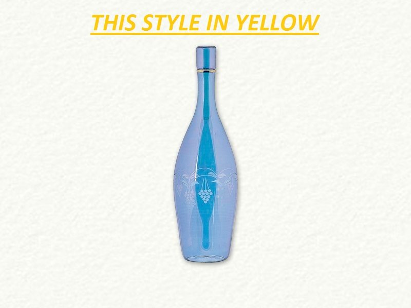Yellow Wine Bottle Decanter with Grapes