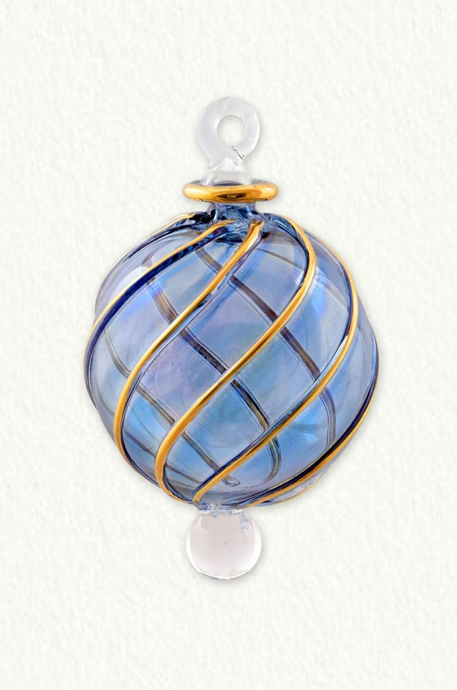 EGYPTIAN MUSEUM GLASS Small Ornament Ball with Swirls - Blue
