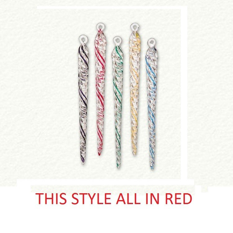 Swirl Glass Icicle - Red Only