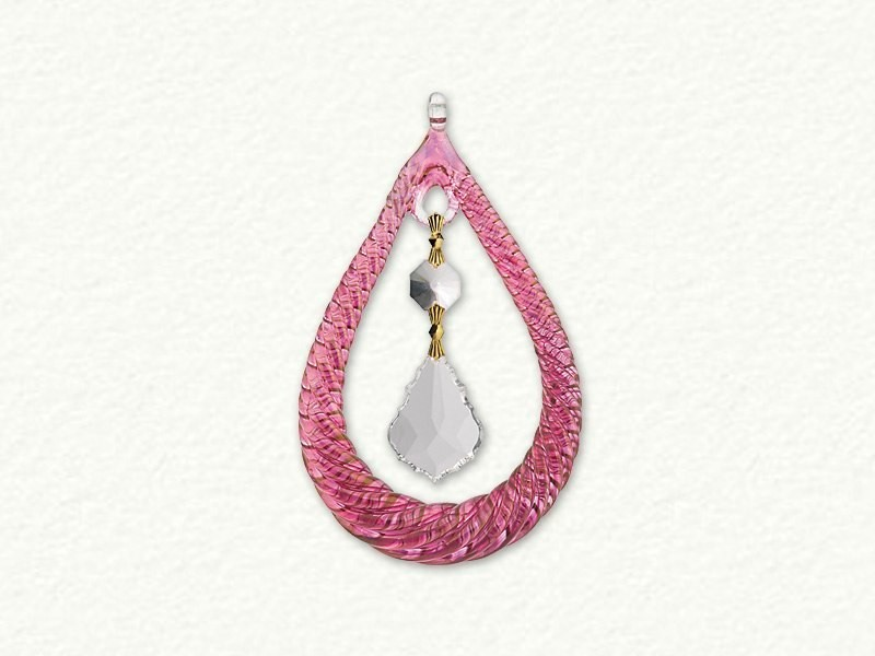 Small Tear Drop Shaped Ornament With Crystal - Red