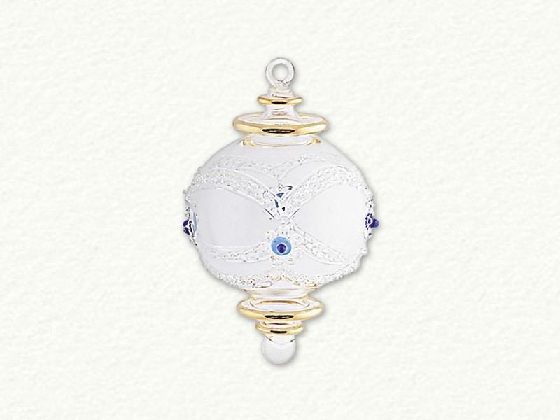 Small Ball with Rasied Lines Ornament - Clear