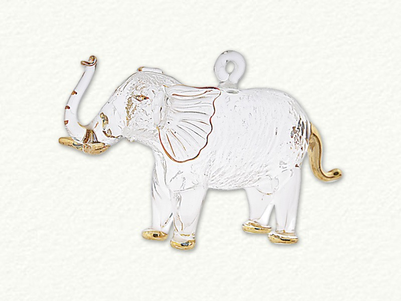 Small Ornament Elephant Clear with Gold