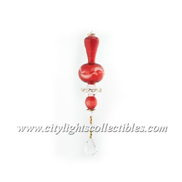 Small Ornament with Crystal Etch - Red
