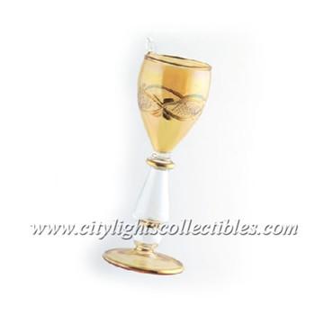 Small Ornament Wine Glass - Amber