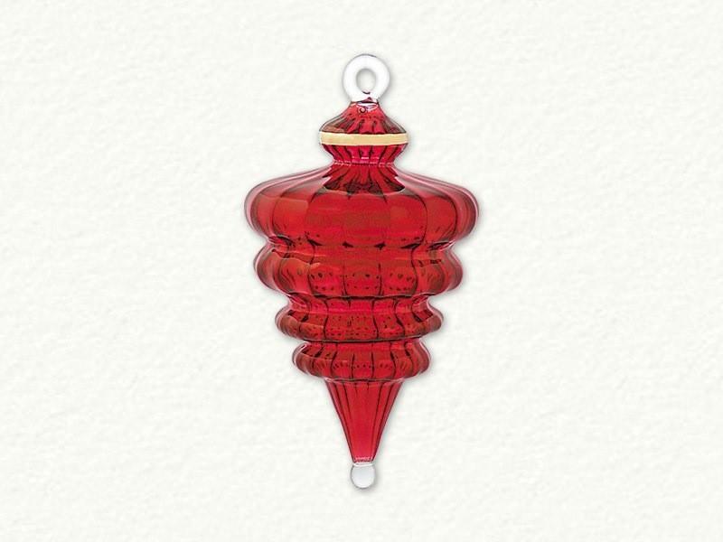 Jumbo Sized Swirl Drop Shaped Ornament - Red