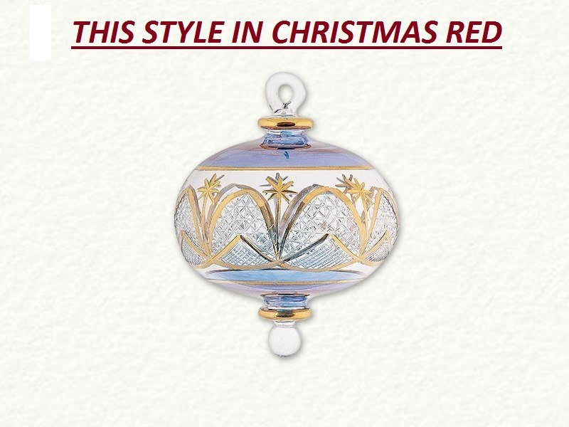 Full Size Christmas Red Glass Ornament with Gold Etching