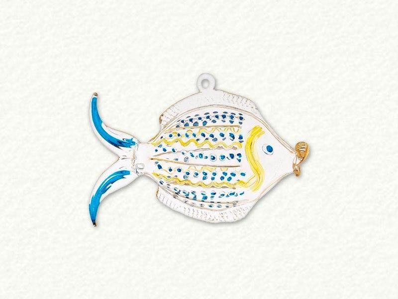 Full Size Clear Blow Fish Glass Ornament