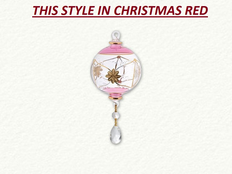 Full Size Christmas Red Glass Ornament with Crystal