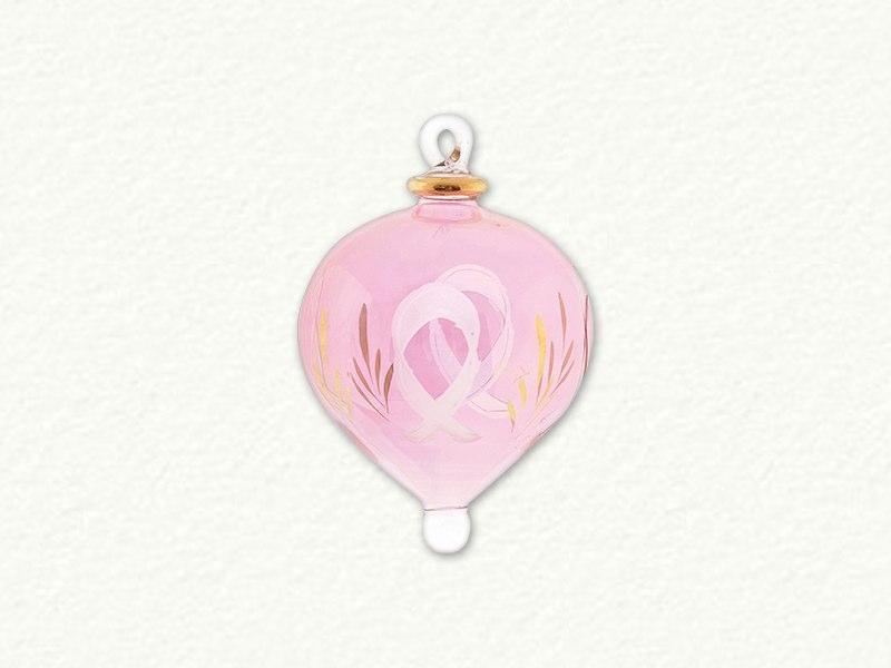 Small Pink Ribbon Glass Ornament