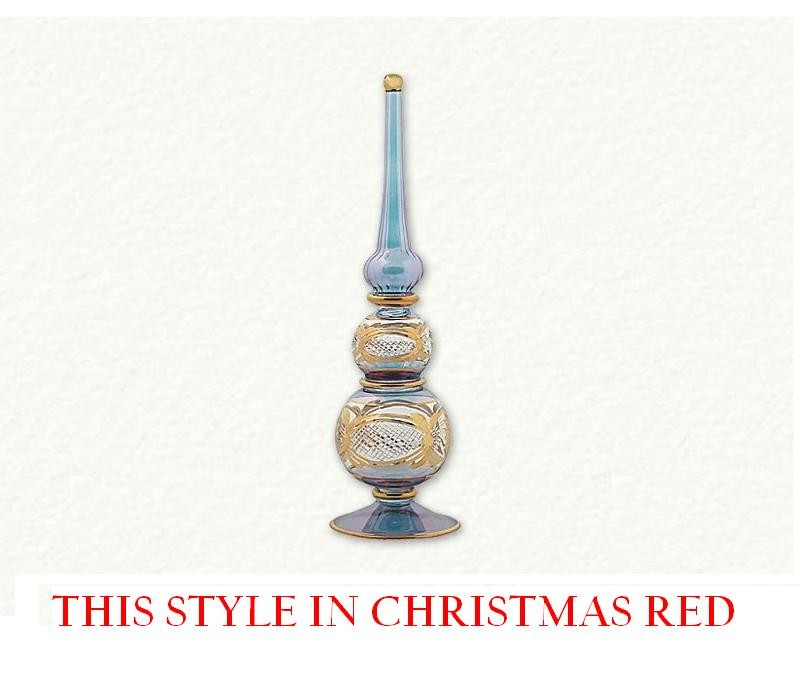 Tree Topper 11'' - Gold Inlay Etched - Christmas Red