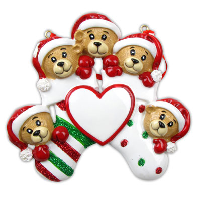 Five Bears Clinging to Stocking Ornament - Personalizable