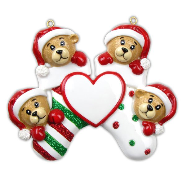 Four Bears Clinging to Stocking Ornament - Personalizable