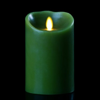 """9"""" Forest Green Luminara - Fireless Candle with Pine Scent"""