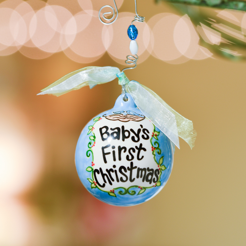 Blue Baby's First Christmas Birds in Nest Ball Ornament