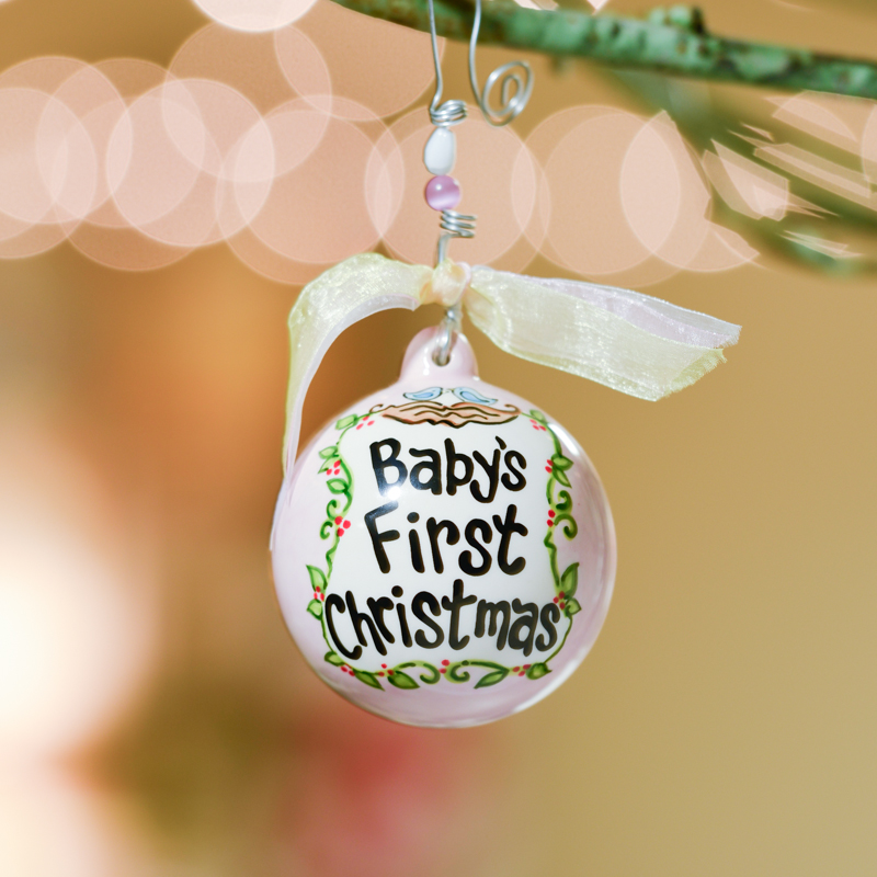 pink babys first christmas birds in nest ball ornament