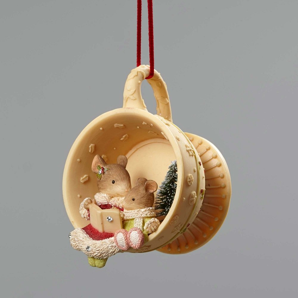 Holiday Tails - Mice In Tea Cup Ornament
