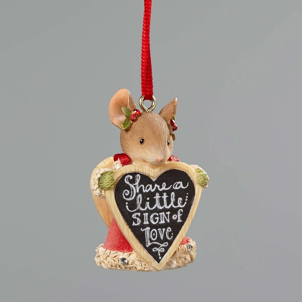 Sharing A Little sign Of Love - Mouse With Sign Ornament