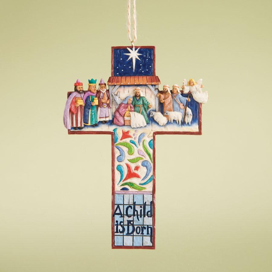 ''A Child Is Born'' - Nativity Scene Cross Hanging Ornament