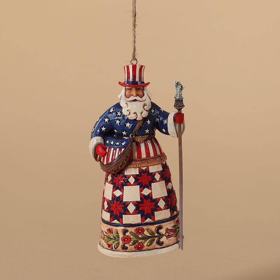American Santa Ornament