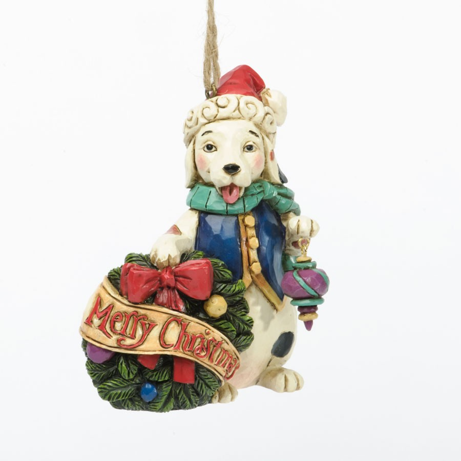 Christmas Dog With Wreath Hanging Ornament