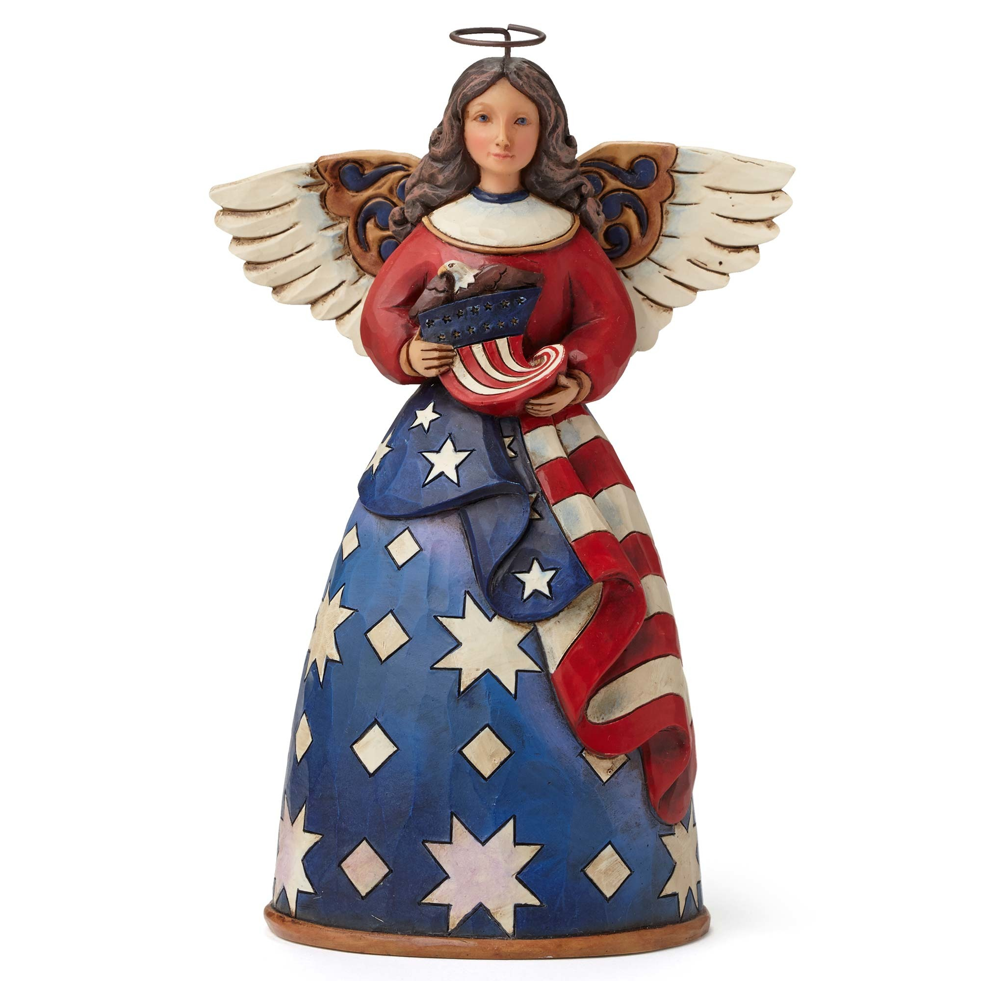 Patriotic Angel With Flag Dress - Bless The Stars And Stripes