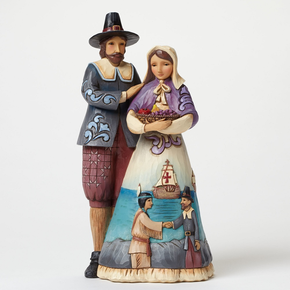Mayflower Memories - Pilgrim Couple With Scene