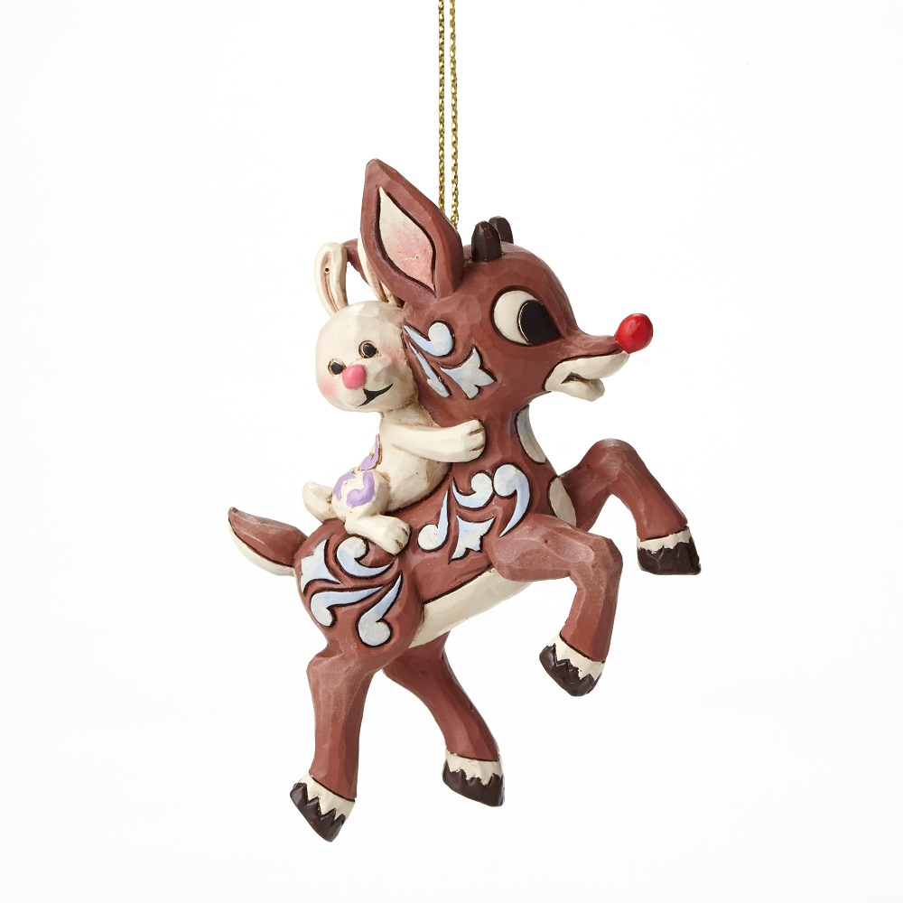 Rudolph Flying - Rudolph Carrying Bunny Ornament