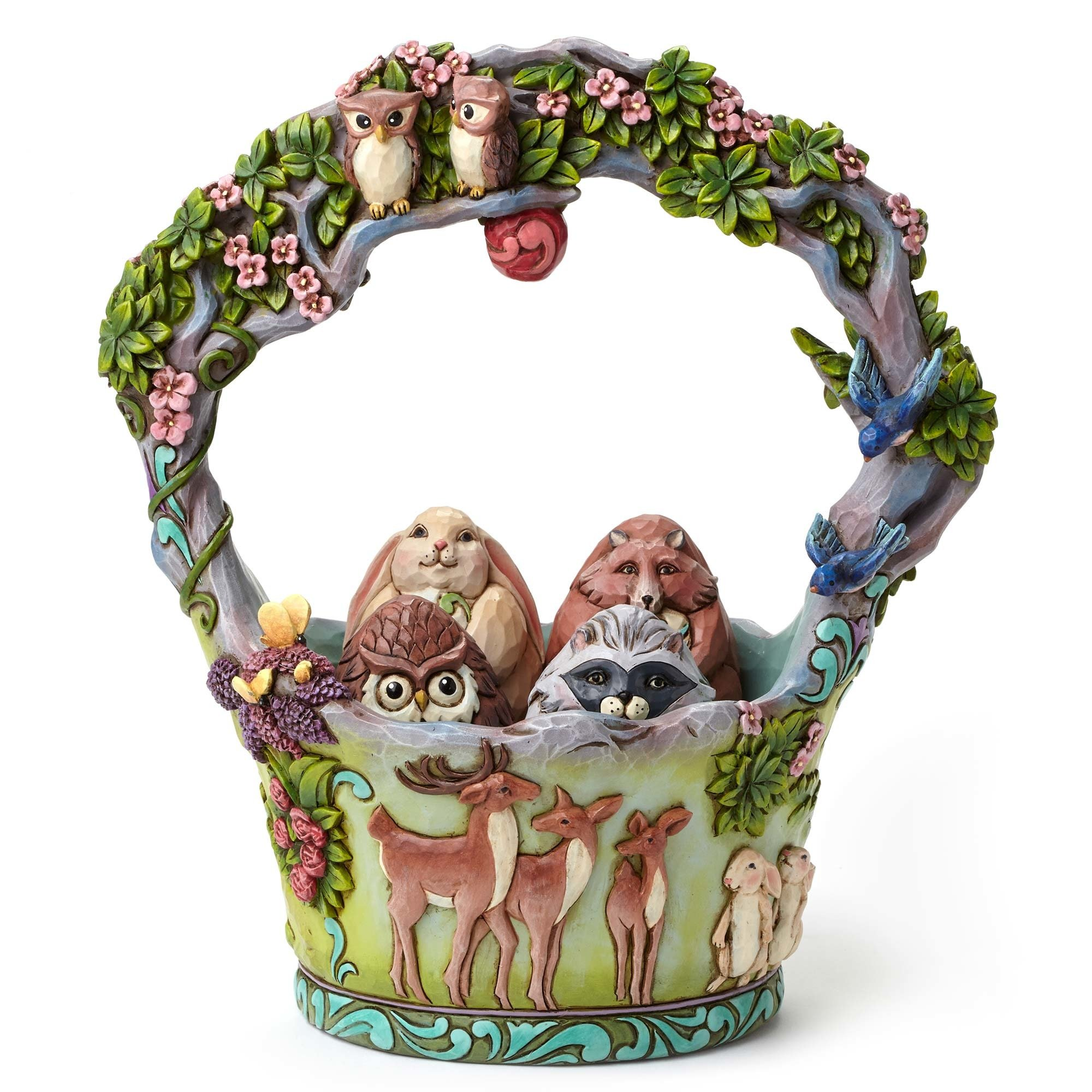 Woodland Basket With Five Eggs - Signs Of Springtime