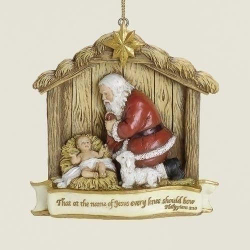 Kneeling Santa Scene Hanging Ornament