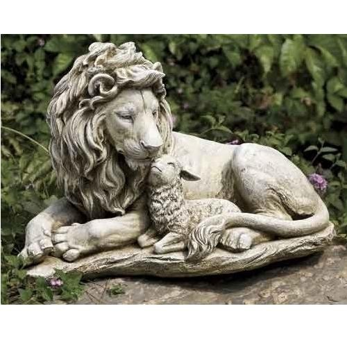 Lion & Lamb Garden Figure, 12.5''