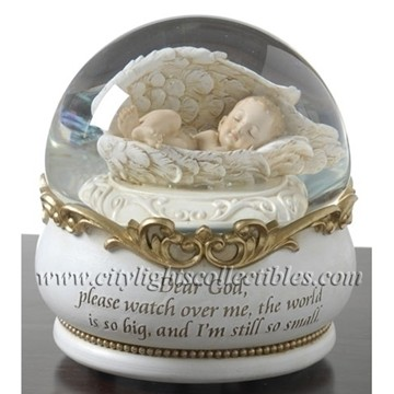 Sleeping Baby In Wings Glitter Dome Water Globe