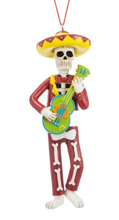 Day Of The Dead Skeleton with Guitar Ornament