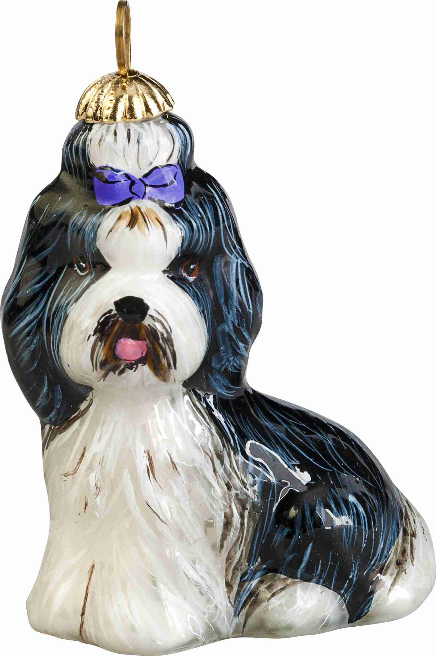 Joy To The World Zkp3826blw Shih Tzu Sitting W Top Knot Black And White