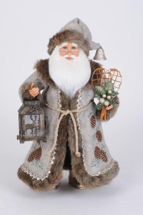 Lighted Silver Pine Santa