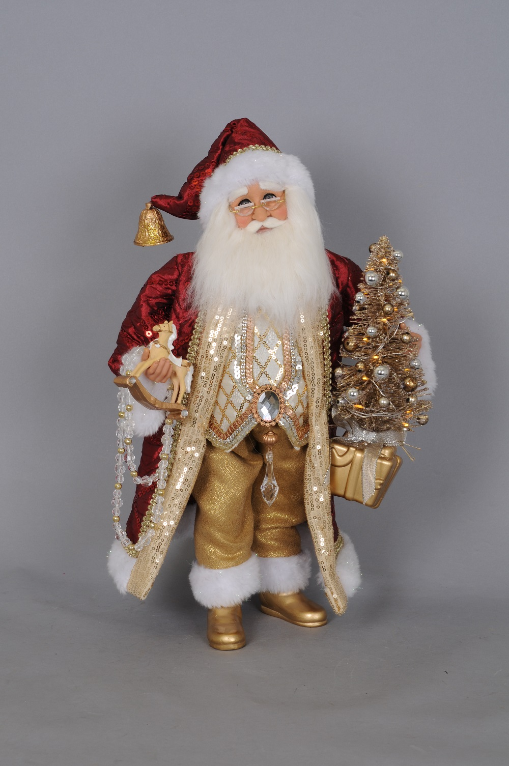 Burgandy Santa with Rocking Horse