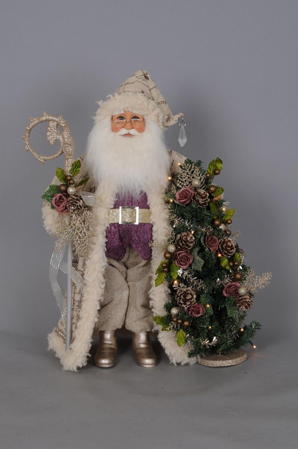 Purple Santa With Lit Tree